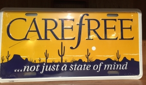 Carefree Arizona License Plates, Front license plates, souvenirs, Carefree Cave Creek Chamber of Commerce